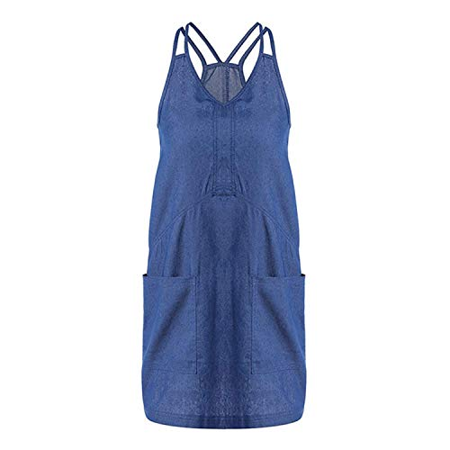 Dames jeansjurk mouwloos elegante vintage sling lange rok denim knielange modieuze casual slank avondjurk zomerjurk blousejurk blauw geen T-shirts