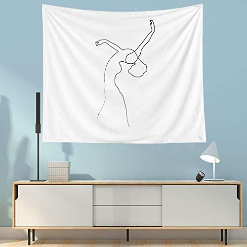 WERT Tapiz Abstracto Colgante de Pared Manta de Arte Simple Tela de Fondo Blanco Decoración del hogar para Sala de Estar Dormitorio Toalla de Playa A2 200x150cm
