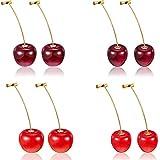 4 Pairs Cherry Earrings Cherry Sweet Earrings 3D Cherry Dangle Earrings with 10 Pieces Ear Lines for Women
