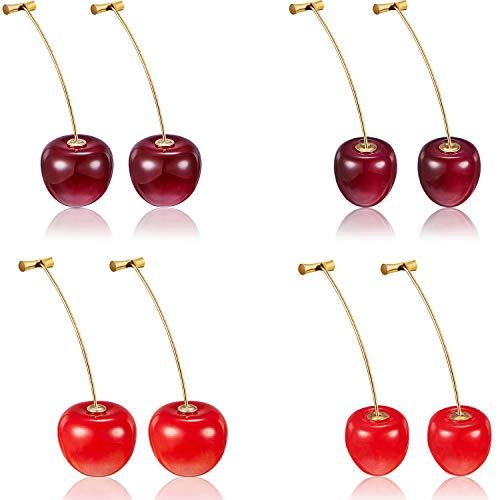4 Paar Kirsche Ohrringe Kirsche Süße Ohrringe 3D Kirsche Baumeln Ohrringe mit 10 Stücke Ohr Linien für Frauen und Mädchen