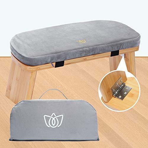 Florensi Meditation Bench (18'x7'x6'), Bamboo, Foldable & Ergonomic Meditation Stool, Sturdy Prayer Bench, Comfortable for Kneeling or Sitting, Perfect for Deeper & Longer Meditation