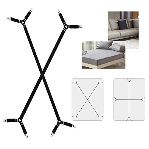 AILZPXX Bed Sheet Fasteners Holder Straps, 2 Pcs Adjustable Triangle Fitted Sheet Clips Grippers Suspenders, Elastic Crisscross Corner Holders for All Bedsheet Flat Sheets (Black)