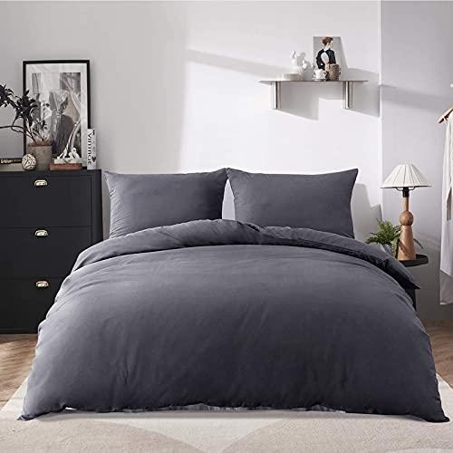 Bettwäsche 200x220, Bettwäsche Set Grau Atmungsaktiv 3teilig, 100% Mikrofaser, Weiche und Angenehme -1 Bettbezug 200x220 cm + 2 Kissenbezügen 80x80 cm mit Reißverschluss