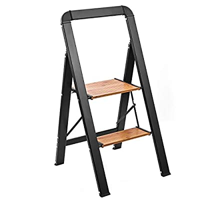 Delxo Aluminum 2 Step Stool Ladder,2020 Upgrade Lightweight Folding Step Stool with Long Handle, Anti-Slip Study Pedal, Classic Wood Look Without Wood Worry Step Ladder, Hold Up to 330LB