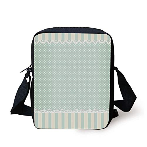 Shabby Chic Decor,Traditional Old Fashioned Vertical Stripes Ornaments Dots Decorative,Almong Green Cream White Print Kids Crossbody Messenger Bag Purse