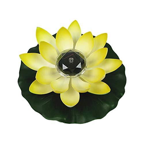 Zuolaijf LED Candles Solar Powered LED Flower Light Floating Fountain Pond Garden Pool Lamp Realistic Lotus Shape Led Bright Lamps Bulb (Emitting Color : YE)