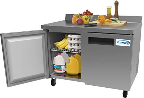 "KoolMore 48"" Stainless Steel 2 Door Worktop Commercial Refrigerator with 3 1/2 Backsplash - 12 cu.ft (RWT-2D-12C)"
