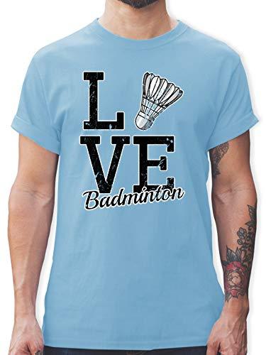 Sonstige Sportarten - Love Badminton - XL - Hellblau - L190 - Tshirt Herren und Männer T-Shirts