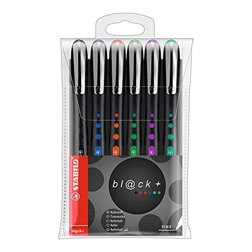 Tintenroller - STABILO bl@ck - fine - 6er Pack - schwarz, blau, rot, grün, lila, türkis