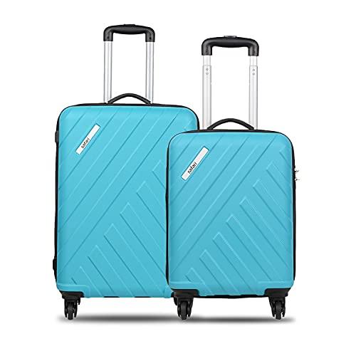 Safari RAY Polycarbonate Combo Set of Small and Medium Check in- Cyan Hardsided Luggage (RAY SM Combo 4W Cyan) (RAYSM4WCYN)