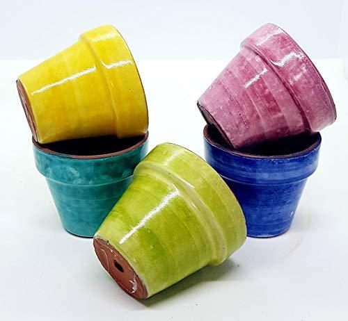 n. 5 Vasi da fiore diametro 6 cm Colori Assortiti Handmade Le Ceramiche del Castello Made in Italy
