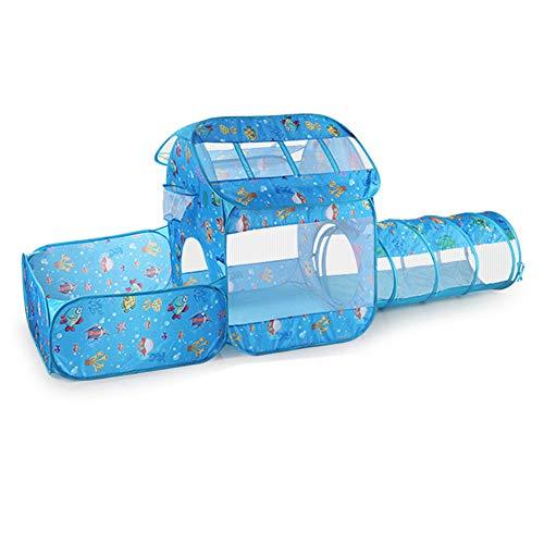 Nbibsaacy Spielzelt Spielhaus Babyzelt Bällebad Kinderzelt | Ideal für Zuhause & im Garten | Tasche | Tunnel für drinnen und draußen (Der Ball ist Nicht enthalten),Withtunnel