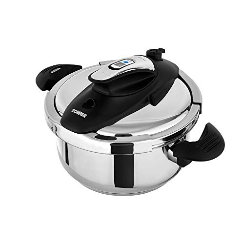 Tower T920002 Pressure Cooker, Twist/Turn Lid, Stainless Steel, 4 Litre, 22...