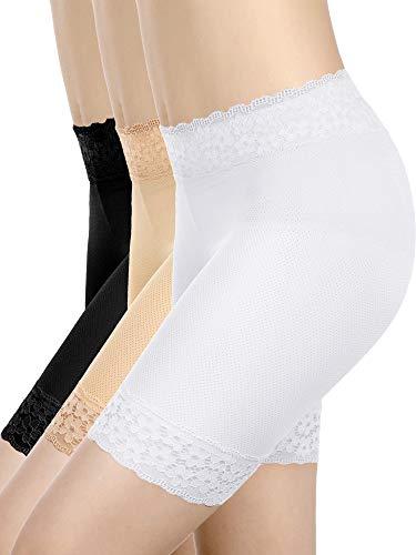 Lace Shorts Underwear Yoga Shorts Stretch Safety Leggings Undershorts for Women Girls (Black, Skin, White, Medium-Large)