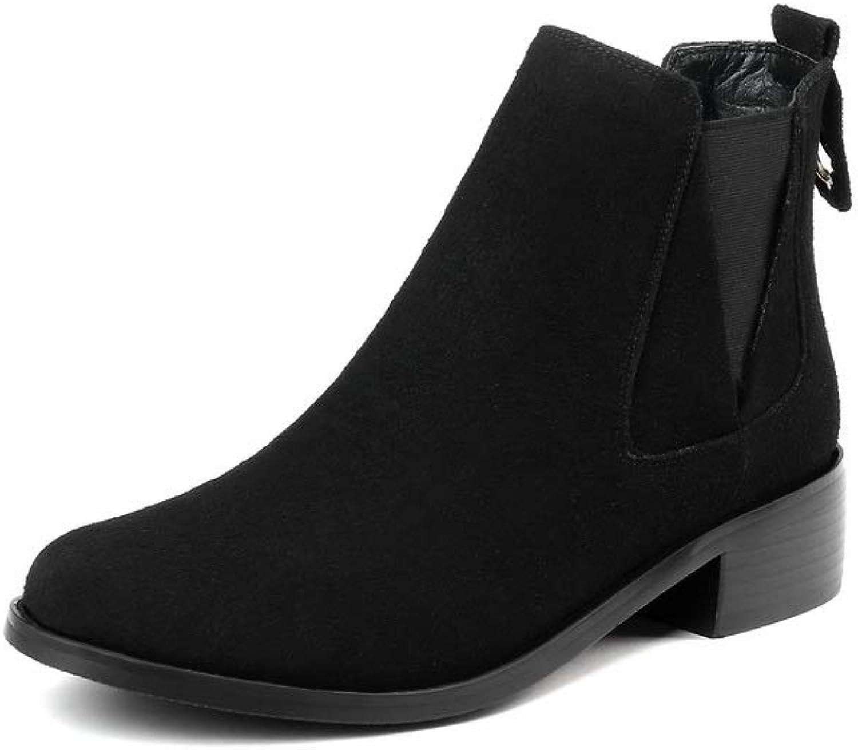 BalaMasa Womens Bucket-Style Solid Nubuck Urethane Boots ABL11809