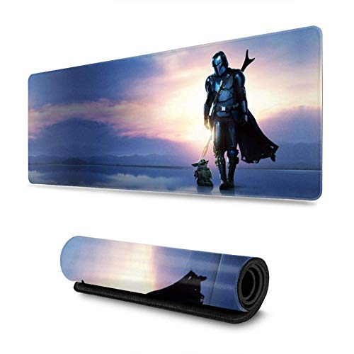 Mandalorian Baby Yo-da Art Mouse Pad Mouse Mat with Stitched Edge Non-Slip Rubber Base Electronic Sports Oversized Mousepad Laptops Computers and PC Gaming 11.8X31.5 Inch Mouse Large Extended Pads