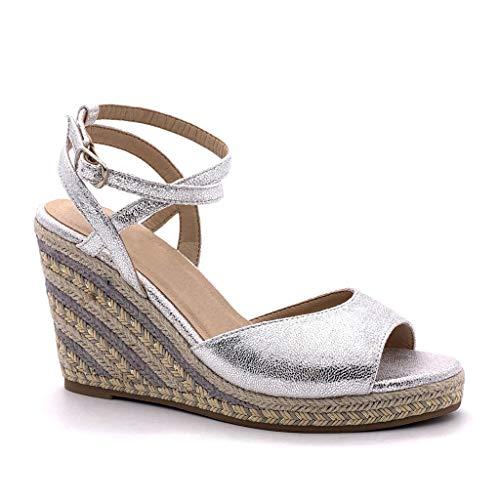 Angkorly - Dames schoenen sandalen espadrilles - Folk/Ethnisch - Bohemen - Open - Touw - met stro - Multi-zoom wig hak 10 cm