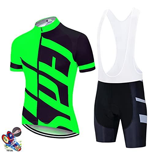 DNJKH Maillot de Ciclismo Manga Corta para Hombre Secado Rápido Conjunto Ciclismo con Culotes Anti-UV Transpirable para Bicicleta MTB