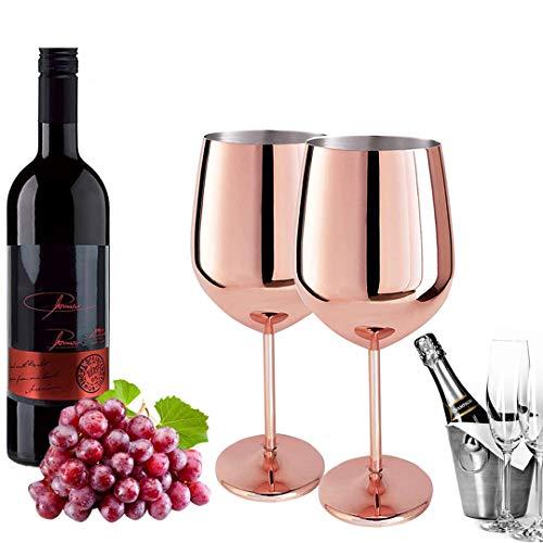D L D Zweiteiliges Weinglas Kupfer Rotweinglas Sektglas Edelstahl gebürstet Sektglas Edelstahl Weinglas passend für jede Veranstaltung Rosegold 500ml