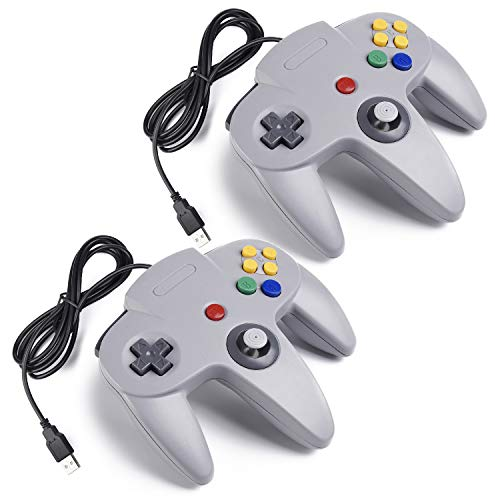 miadore 2X N64 USB Retro 64-Bit Controller Wired PC Gamepad Klassischen Joypad Joystick Für MAC Windows Linux Raspberry Pi 3 (Grau)