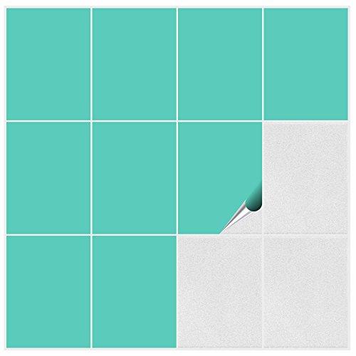 FoLIESEN Fliesenaufkleber Küche u. Bad-15x20 cm matt-15, PVC, Mint matt, 15 Stück, Einheiten