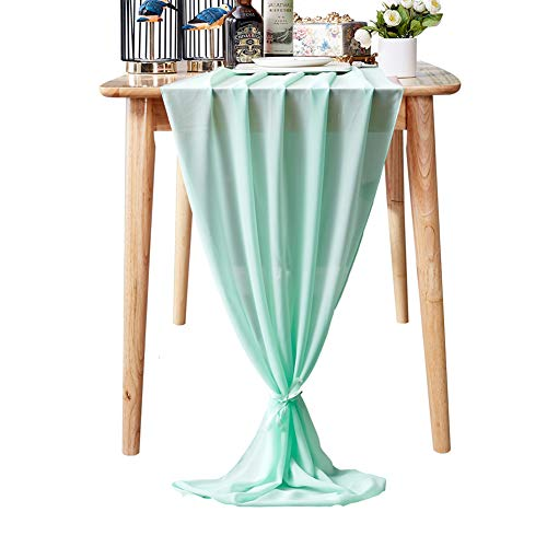 Aviviho Chiffon Table Runner Mint 10Ft for Wedding Baby Shower Party Decor Smooth Sheer Arch Table Decorations