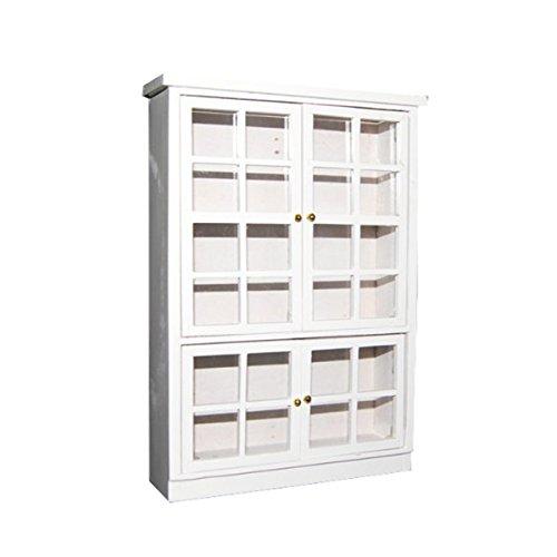 PIXNOR 1:12 plateau d'affichage de Carbinet en bois pour maison de poupées miniatures meubles (blanc)