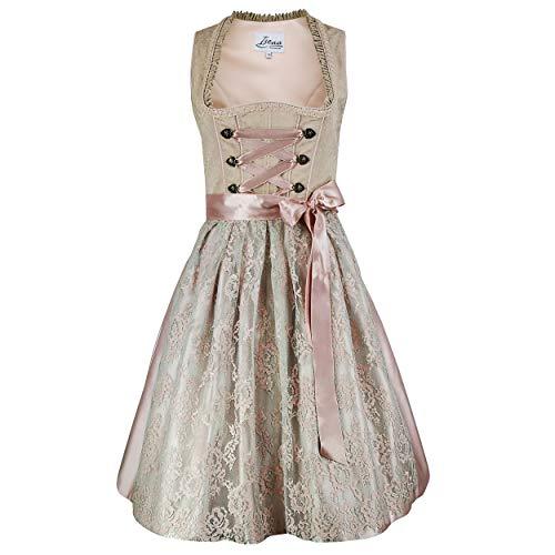 Damen Dirndl Kleid Dirndlkleid Trachtenkleid Ida Beige Rosa 38