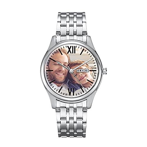 Reloj De Aleación Personalizado para Pareja con Nombre Grabado Reloj Conmemorativo Resistente Al Agua con Foto Día del Padre Cumpleaños Graduación Regalo Recuerdo (Reloj para Hombres)