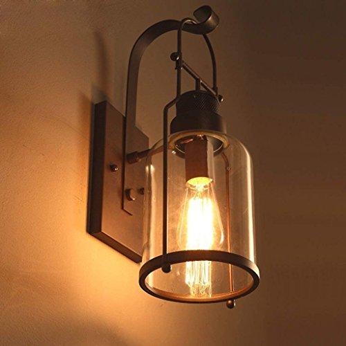DSJ Industrial Loft Amerikaanse landelijke stijl slaapkamer nachtkastje retro oude smeedijzeren glas wandlamp