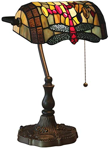 Lámpara De Mesa Tiffany Banquero Barroco Deco Manchada con Interruptor De Sombra Lámpara De Mesa para Tirar Oficina Noche Vidrio Retro,F