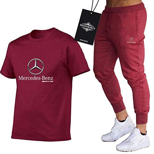 xiaosu Männer Und Frauen T-Shirt Trainingsanzug Einstellen Zum Mercedes-Ben.Z A.M.G Zwei Stück Lange Hülse Tee Hose Sportkleidung Oben Kapuzenpullover Herren/Weinrot/XXL
