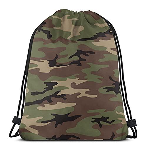 DJNGN Army Camo Camo Resistente al Agua String Bag Sports Sackpack Gym Sack para Hombres Mujeres