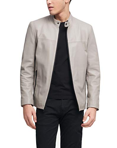 DKNY Herren Leather Modern Racer Jacket Lederjacke, Elefant, XX-Large
