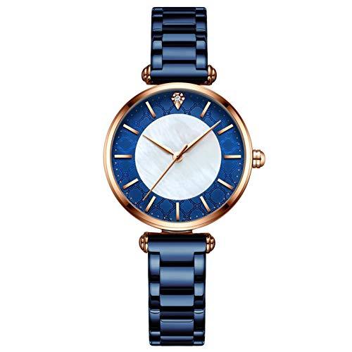 QHG Relojes para Mujer Muñequera de Lujo Muñeco Reloj Relk Lady Moda Impermeable con Correa de Acero Inoxidable Regalos para Mujeres (Color : A)
