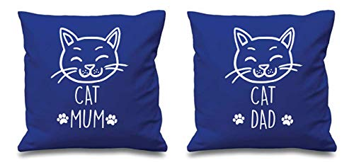 Housses de coussin bleues avec inscription « Cat Mum Cat Dad » pour couple, pour Saint-Valentin, anniversaire de mariage, petit ami
