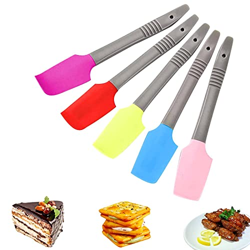 Set of 5 Silicone Spatulas Spatula Set Baking Heat Resistant BPA Free Seamless and Flexible Multifunction Elbow Handle Non-Stick Tools Kitchen Utensil for Cooking Baking and Mixing 5 Colors