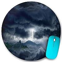 KAPANOU ラウンドマウスパッド カスタムマウスパッド、自然の力の背景-山の暗い嵐の空の明るい稲妻、PC ノートパソコン オフィス用 円形 デスクマット 、ズされたゲーミングマウスパッド 滑り止め 耐久性が 200mmx200mm