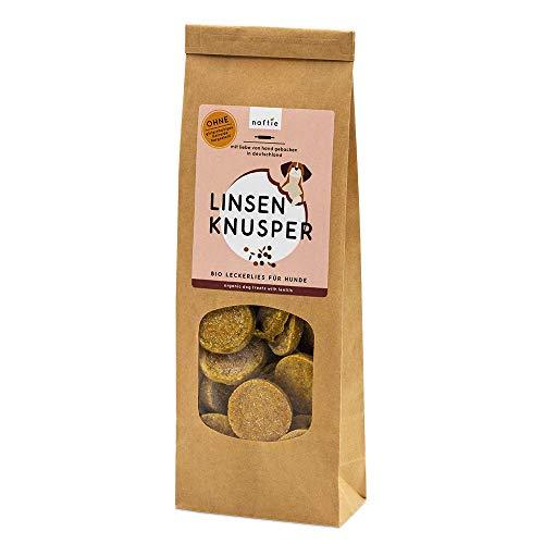 naftie Bio Leckerlies Linsen Knusper Hundekekse | nur für artige Hunde | vegane Hundeleckerli mit Buchweizenmehl, Linsenmehl & Kurkuma | glutenfrei | handgebacken | natürlich | ohne Zucker | 200g