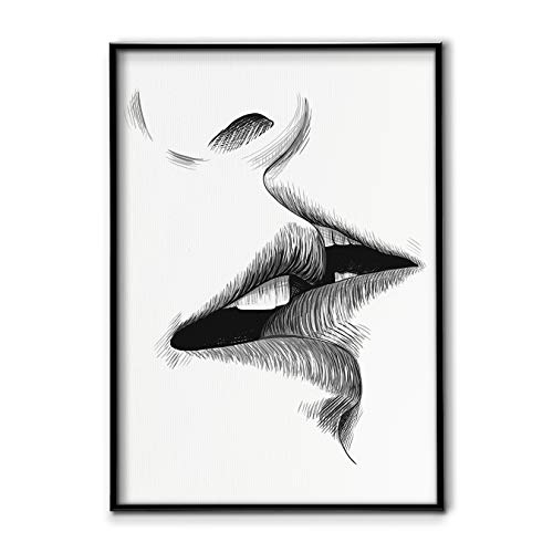 DONLETRA® Lámina Nórdica de Beso/Kiss para Enmarcar - Decoración de Pared - Cuadro en Lienzo sin Marco, Varias Medidas, LSM-002 (60x90cm)