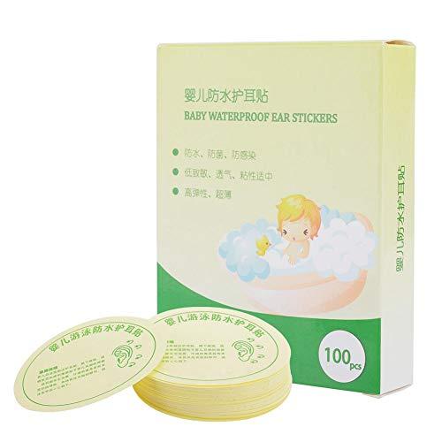 Baby wasserdichte Ohraufkleber 100 Stück, Baby Ohrschutz Ohrschutzpaste zum Duschen/Schwimmen/Baden/Waschen von Haaren(100 Stück)