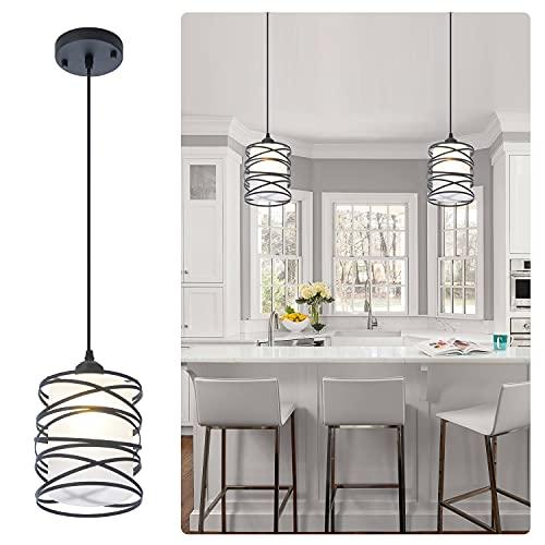Modern Mini Pendant Light Fixture Kitchen Island Pendant Lighting 6.30''Matte Black Spiral Cage and...