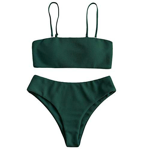 ZAFUL Damen Strukturiertem Bandeau und Abnehmbaren Trägern Zweiteiliger Badeanzug mit Hohem Schnitt Bikini Set (S, Dunkelgrün)