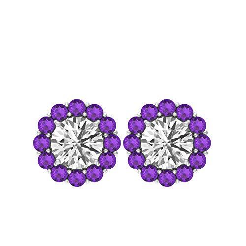 1.2 Amethyst Flower Stud Earring, 1.6 Ct Moissanite Cluster Wedding Bridal Earring, SGL Certified Gemstone Earring, Women Statement Gold Earring, 18K Rose Gold, Pair