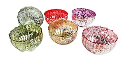 itsisa Glas Schwimmschale bunt 6er Set - Schwimmkerzen, Schwimmlicht, Tischdeko, Teelichthalter