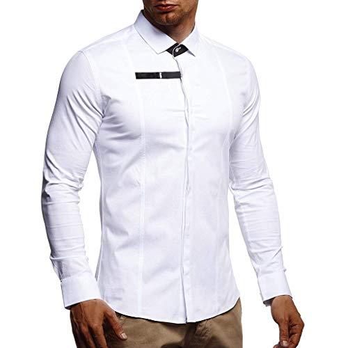 ZHANSANFM Hemd Herren Unifarben Patchwork Revers Langarmhemd Herbst Hemden Button Down Regular Fit Businesshemd Neu Männer Basic Freizeithemd für Büro Party zu jedem Anzug (M, Weiß)