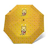 Windproof Travel Umbrella Cute Winnie The Pooh Compact Folding Umbrella Automatic Open/Close