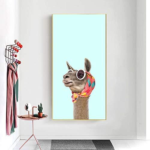 Rahmenlose Malerei Lustiges Tier Lama Poster Tier Alpaka Bunte Moderne Wandkunst DekorationZGQ4228 30X60cm