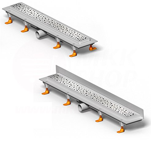 Design doucheafvoer goot gelijkerdig lineair plat roestvrij staal tegel geur-terugslagklep vloerafvoer betegelbaar bad sauna wc afvoer 45 cm / 450 mm Wandmontage (Klasik) mat