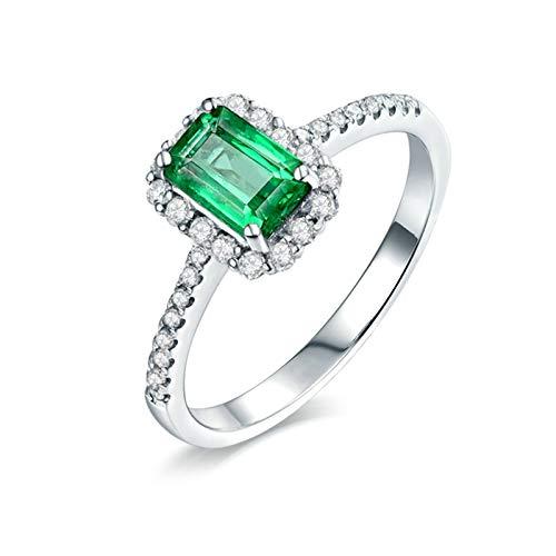 Beydodo Anillos Mujer Compromiso,Anillos de Oro Blanco de 18 Kilates Mujer Plata Verde Rectángulo Esmeralda Verde 0.85ct Diamante 0.21ct Talla 16(Circuferencia 56MM)